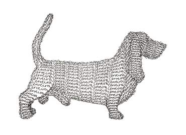 Cerveira's Basset Hound Dog, line drawing made out of the artist's surname