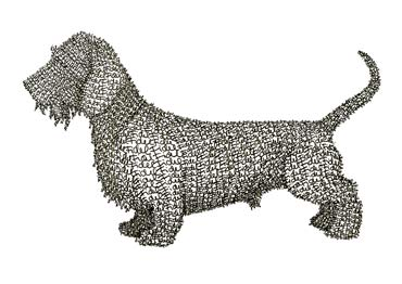 Fidel's Dachshund, commission, pen drawing made out of the name Fidel.