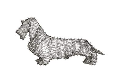G6 Dog, line drawing made out of the artist's signature.