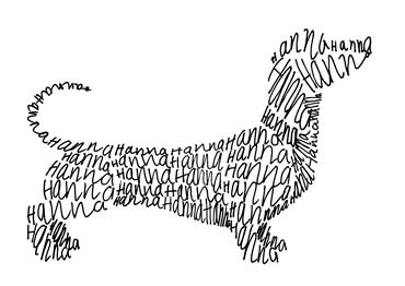 Hanna's Dachshund, commission for tattoo, ink drawing made up of the name Hanna.
