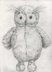 Sketchbook A4-03, 02. Pencil drawing (study for Clementine's Owl Toy).