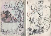 Sketchbook A5-02, 15. Mixed media drawings (cows).