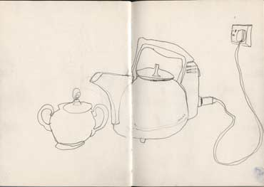 Sketchbook A5-01, 08. Line darwing (kettle and sugar bowl).