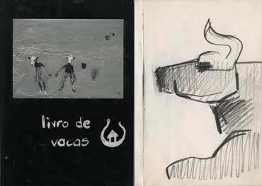 Skecthbook A5-02, 01c. Left: Cover, Livro de Vacas (Book of Cows). Right: pencil drawing (cow sitted)