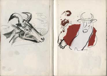 Sketchbook A5-02, 06c. Left: pencil drawing (goat). Right: collage drawing (cow).