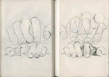 Sketchbook A5-03, 02. Line drawing (my hands and fingers).