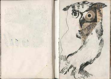 Sketchbook A5-04, 10. Owl drawing with collage.