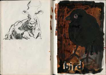 Sketchbook A5-04, 16c. Pencil drawing (cow) and mixed media sketch (bird).