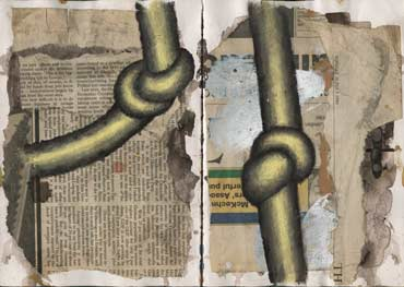 Sketchbook A5-05, 04. Composition with knots, acrylic on newspaper collaged onto pages.